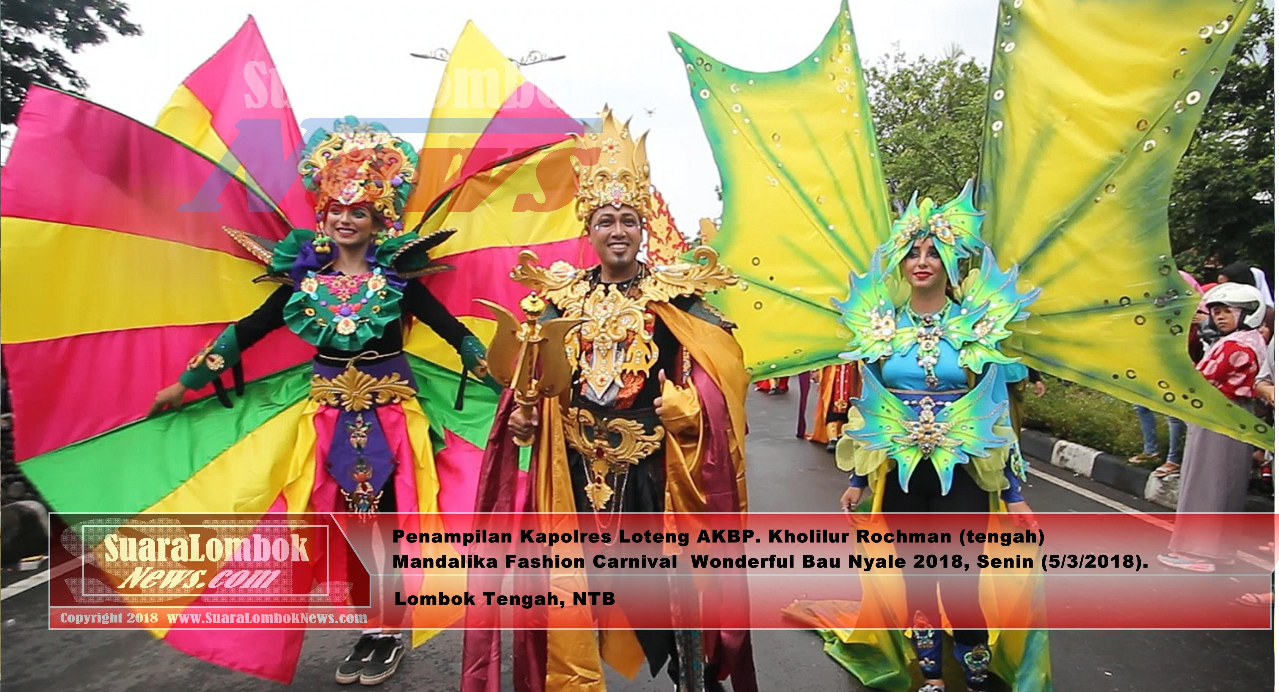 Penampilan Polres Loteng di Mandalika Fashion Carnival Pukau Pengunjung
