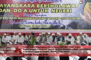 Polisi di Lombok Tengah Bersholawat Untuk  Negeri