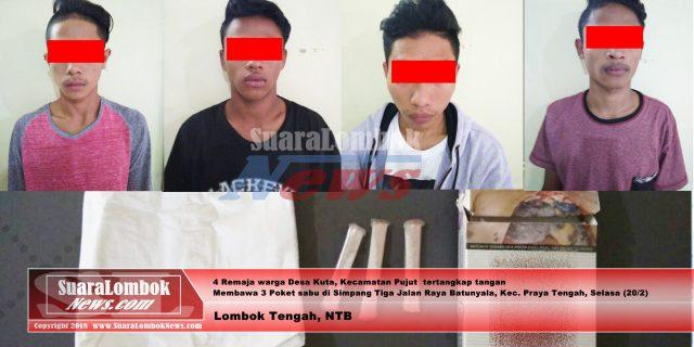 4 Remaja Desa Kuta Tertangkap Tangan Bawa Tiga Poket  Sabu