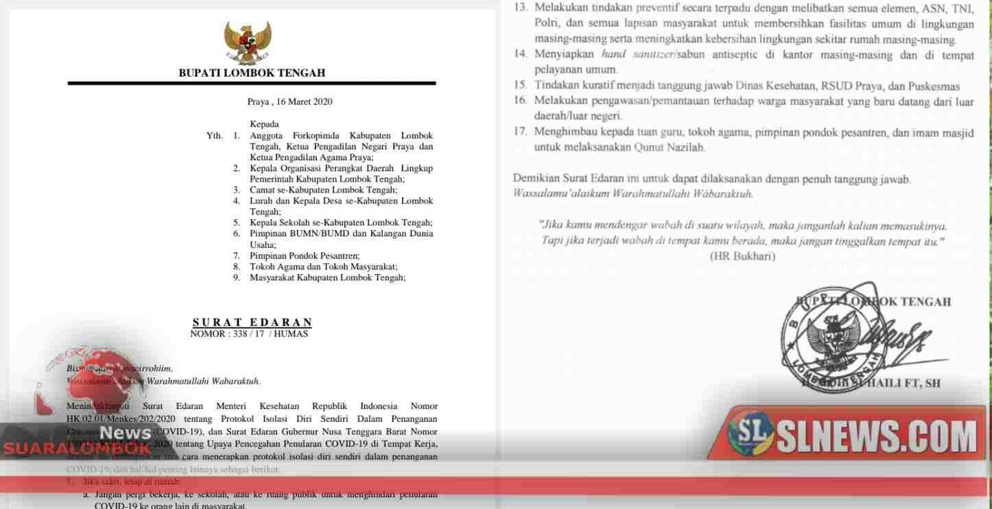 Pemkab Lombok Tengah Terbitkan SE Protokol Isolasi Penanganan Corona