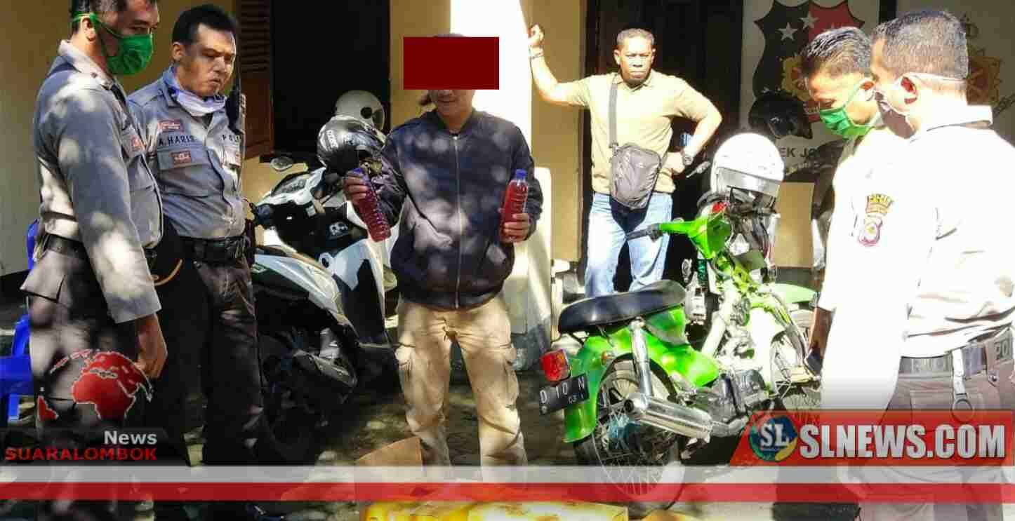 Antar Brem ke Praya, Pengendara Motor Asal Lombok Barat Ditangkap Polisi Di Bonjeruk