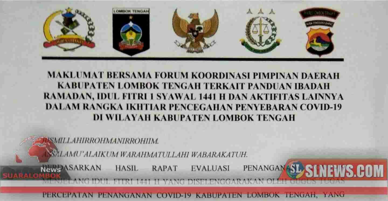 Cegah Covid-19. Jelang Lebaran, Toko Pakaian, Tempat Wisata di Lombok Tengah di Tutup