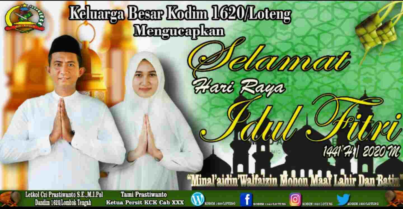Keluarga Besar Kodim 1620/Lombok Tengah Mengucapkan Selamat Hari Raya Idul Fitri 1441 H