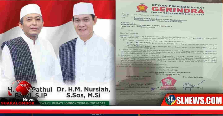 Balon Bupati dan Wakil Bupati Kabupaten Lombok Tengah, H.Lalu Pathul Bahri, S.IP - Dr. Nursiah (kiri) Rekomendasi DPP Partai Gerindra (kanan)