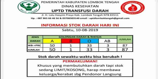 Update Stok Darah, di UTD Dinas Kesehatan Lombok Tengah