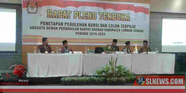 KPU Gelar Rapat Pleno Penetapan Perolehan Kursi dan Calon Terpilih Anggota DPRD Lombok Tengah