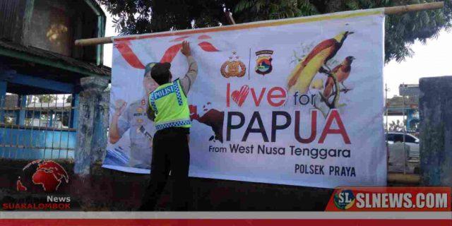 """Polisi di Lombok Tengah Pasang Puluhan Baliho """"Love For Papua"""