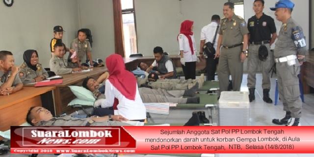 Personel Sat Pol PP Lombok Tengah Donor Darah Untuk Korban Gempa Lombok