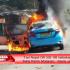 Diduga Korsleting AC,  Sebuah Taxi Hangus Terbakar di Mataram
