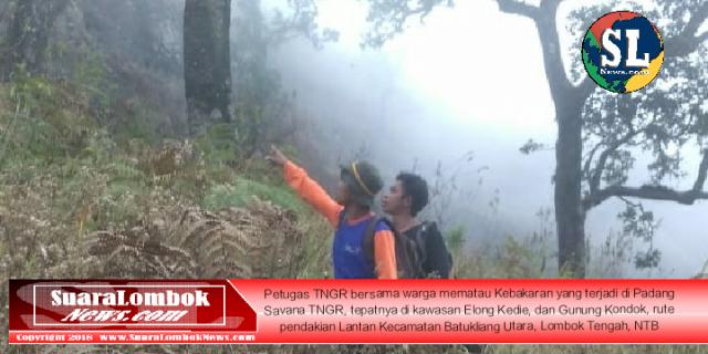 Padang Savana Gunung Renjani Rute Pendakian Lombok Tengah Terbakar