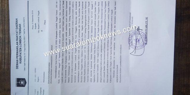 Dewan Restui Pemkab. Lombok Tengah Tolak Perubahan Nama BIL menjadi ZAM