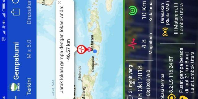 Kamis Pagi Lombok Utara Diguncang Gempa Magnitudo 4,8