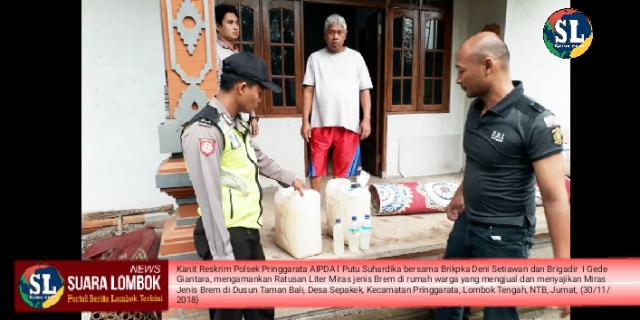 Polisi Pringgarata Gerebek Rumah dan Penjual Miras Tradisional