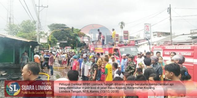 Diduga Korsleting Listrik, Empat Unit Kios di Kopang  Hangus Terbakar