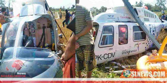 Helikopter Jatuh Diluar Bandara di Lombok Tengah, 4 Orang Terluka
