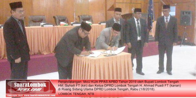Bupati Lombok Tengah dan Ketua DPRD Tandatangani MoU KUA PPAS APBD 2019