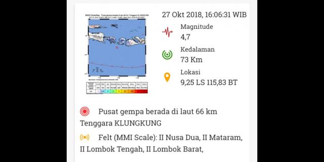 Gempa Magnitudo 4,7 Guncang Klungkung, Bali, Terasa Hingga Lombok