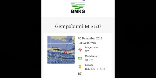 Kamis Pagi Lombok, Diguncang Gempa 5,7 SR
