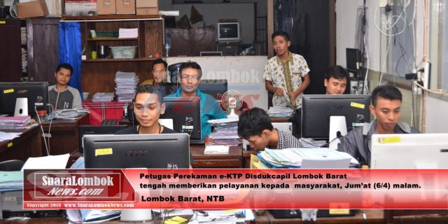 Kejar Target, Disdukcapil Lombok Barat Begadang